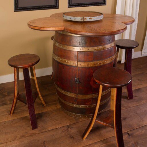 wine barrel table set napa east collection