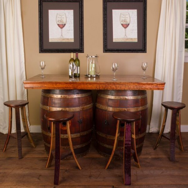 Wine Barrel Bar Island Set Napa East Collection Wine