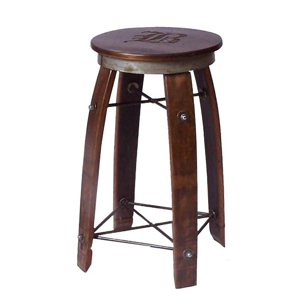 Daisy 2 Day Designs Wine Barrel Stave Bar Stool Swivel Top