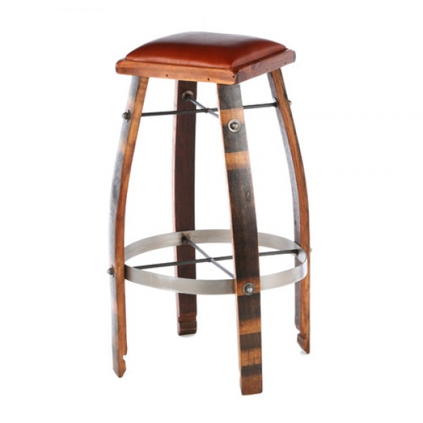 2 Day Designs Wine Barrel Bar Stools Tan Or Chocolate Leather Tops