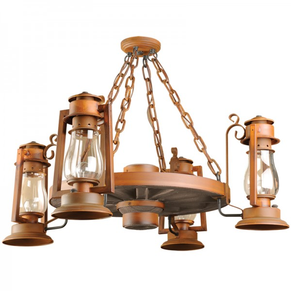 Wagon Wheel Chandeliers Pioneer Sutter's Mill Lantern 772
