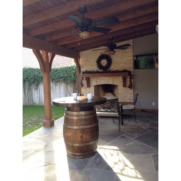 Metal Top Wine Barrel Bistro Table Wine Country Accents