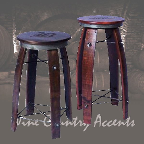 Daisy 2-Day Designs Wine Barrel Stave Bar Stool Swivel Top - Wine ...