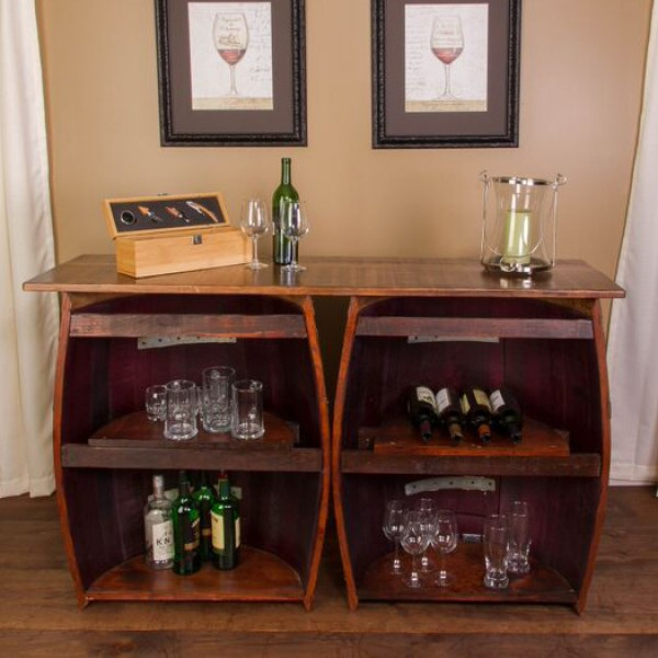 Double Half Barrel Bar Wall Mount Napa East Wine Country