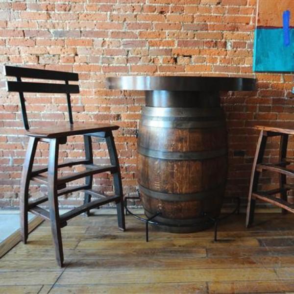 The Oak Barrel Company Half Wine Barrel Bistro Table