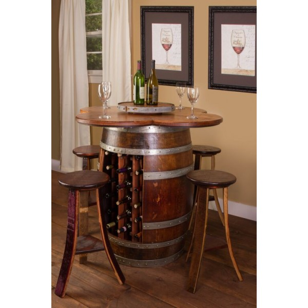 Wine barrel table set with wine bottle rack wine country for 1 2 wine barrel table