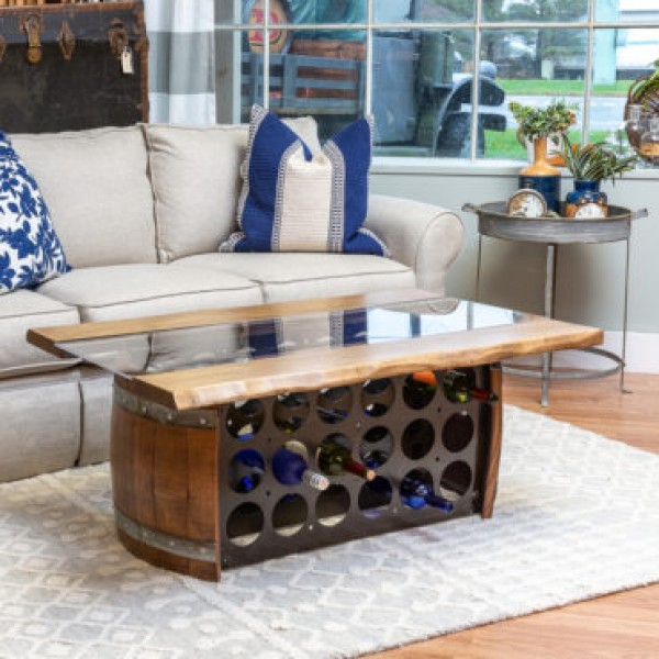 Wine Barrel Bottle Storage Coffee Table Wine Country Accents