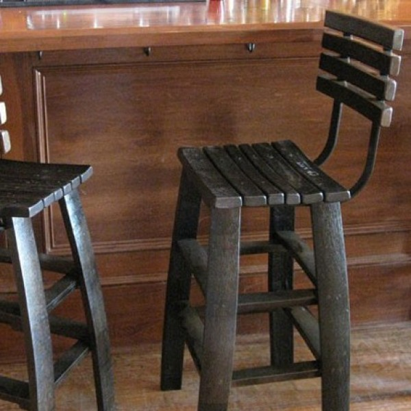 wine stave backed bar stools chairs
