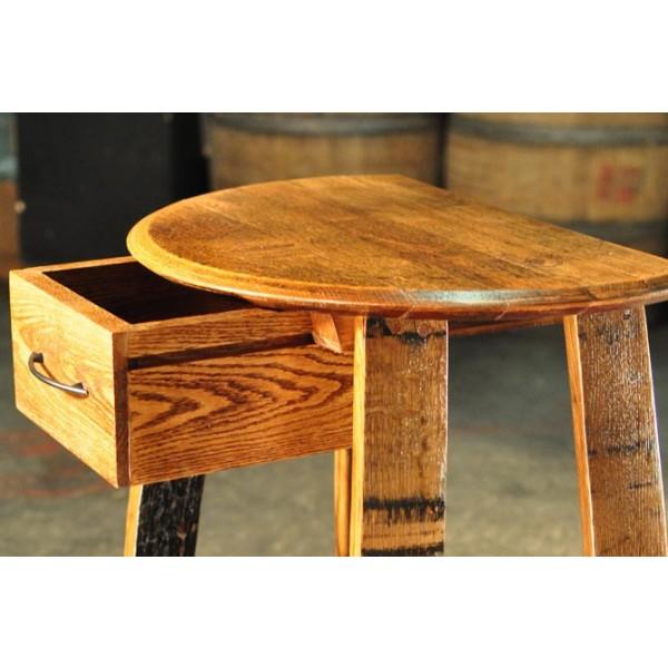 Barrel Head Wine Barrel Oak Bar Stools Table With Drawer