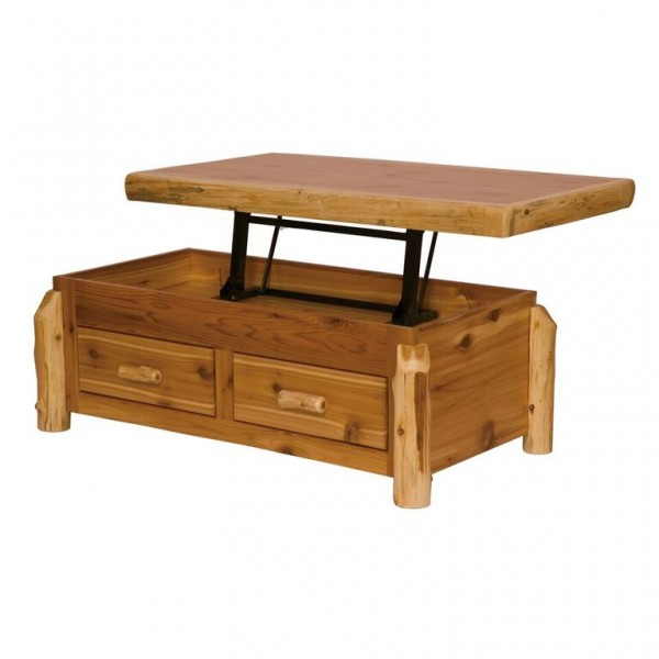 cedar enclosed coffee table with elevating top fireside With elevating coffee table