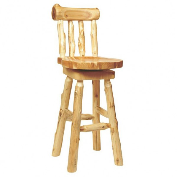 Northern White Cedar Stool with Back Fireside Wine Country