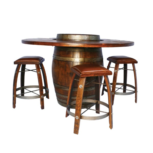 Bar Stools And Tables: Wine Barrel Bistro Table Bar Stool Set