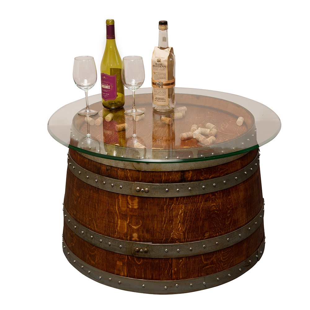 Glass Top Half Barrel Coffee Table Napa East Wine Country Accents