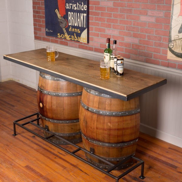 Rustic Industrial Home Bar Designs: Double Half Barrel Bar Napa East