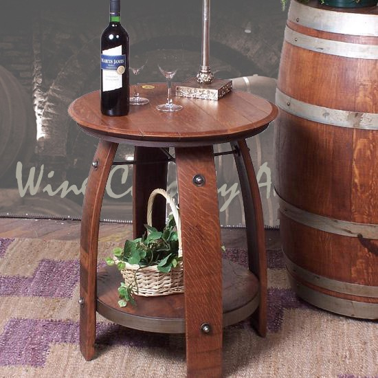 Wine barrel end table 819 2 day designs wine barrel for 1 2 wine barrel table