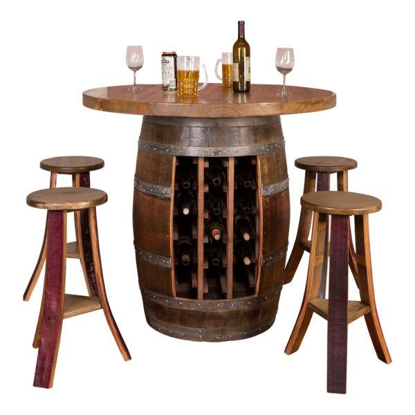 Wine Barrel Round Top Wine Rack Base Table Set