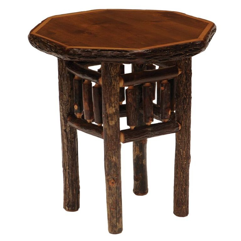 Fireside Lodge Hickory Octagon End Table Wine Country