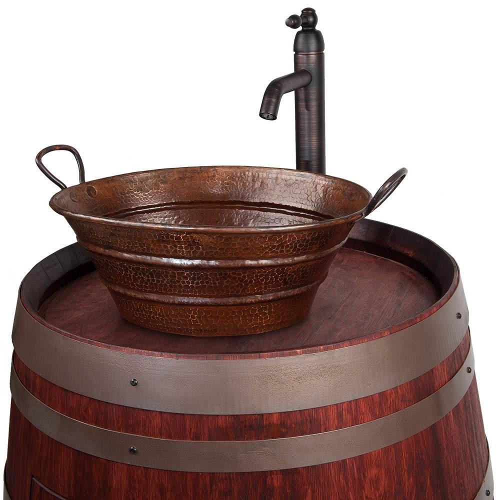 Bucket Vessel Sink : Premier Copper Products Oval Bucket Vessel 16