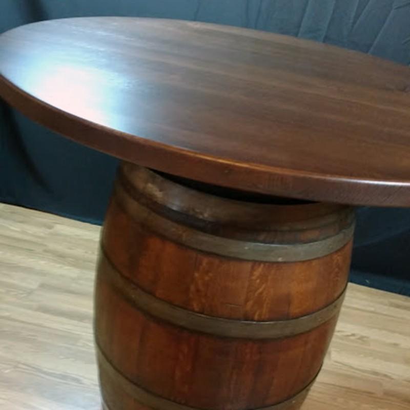 Wine Barrel Wood Top Bistro Table The Oak Barrel Company