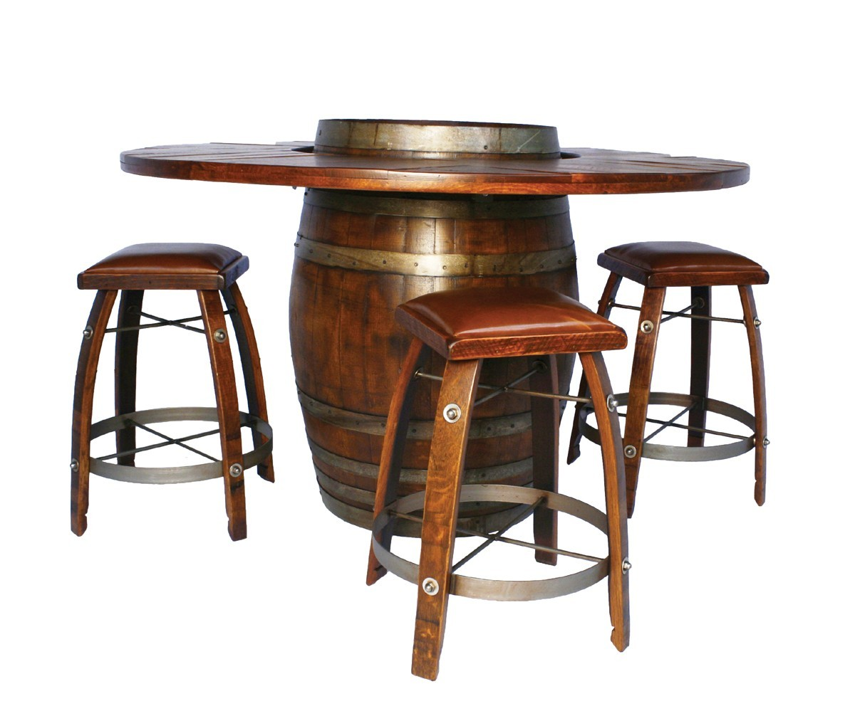 Wine barrel bistro table bar stool set 2 day designs for Bar stool table