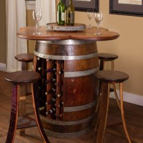 Wine Barrel Table Set With Wine Bottle Rack