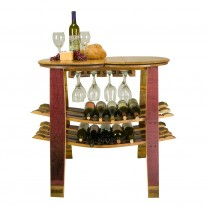Wine Barrel Table Rack With Glass Holder Napa East