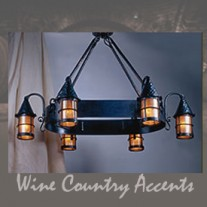 LF203/6 Cottage Oval 6 Lantern Chandelier by Mica Lamps