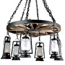 Wagon Wheel Chandeliers 49er Sutter's Mill Lantern