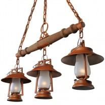 49er 3 Rustic Lantern Yoke Mount & Shade Chandelier