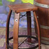 2-Day Designs Wine Barrel Bar Stools With Wood Tops