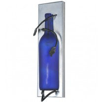 99639 Tuscan Frosted Blue Wine Bottle Pocket Wall Sconce