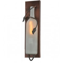 99640 Tuscan Frosted White Wine Bottle Pocket Wall Sconce