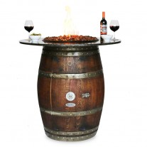 Grand GRANITE TOP Wine Barrel Fire Pit Vin De Flame