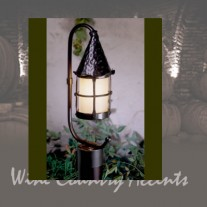 "LF201P-BZ SMALL Cottage ""C"" Arm Post Lantern Bronzed by Mica Lamps"