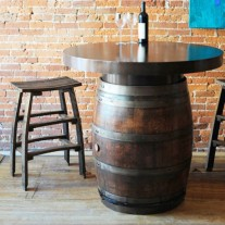 Metal Top Wine Barrel Bistro Table