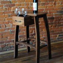 Barrel Head Stool W/Drawer