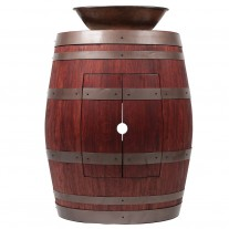 "Wine Barrel Vanity Package with 17"" Oval Wired Rim Vessel Sink"