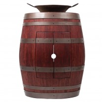 "Wine Barrel Vanity 16"" Round Miners Pan Vessel Sink"