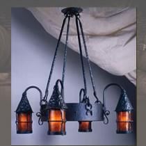 LF203 Cottage 4 Lantern Chandelier