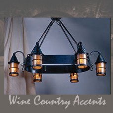 LF203/6 Cottage Oval 6 Lantern Chandelier