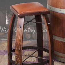 2 Day Designs Wine Barrel Bar Stools Leather Tops