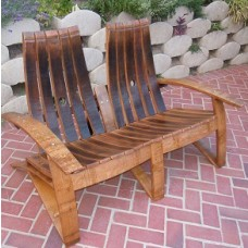 Double Classic Barrel Stave Adirondack Bench
