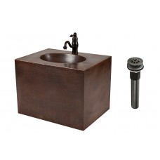 "24"" Hand Hammered Copper Wall Mount Vanity and Faucet Package"