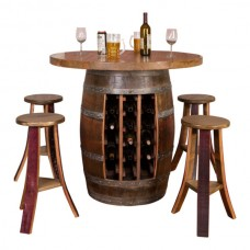 Wine Barrel Round Top Wine Rack Base Table Set
