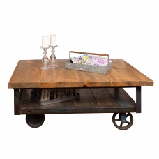 Industrial Wood and Iron Coffee Table Napa East