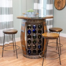 Wine Barrel Live Edge Storage Table Set