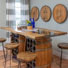 Wine Barrel Storage Bar Table Set