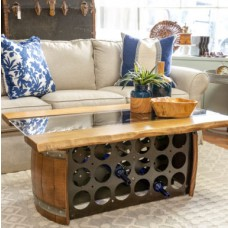 Wine Barrel Bottle Storage Coffee Table