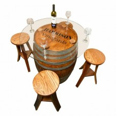 Glass Top Personalized Refinished Wine Barrel Napa East