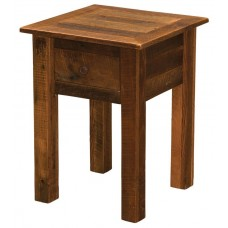 Barnwood Open End Table With Drawer